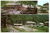 Brookside Motel & Ranch House Pool Gatlinburg Tennessee TN Postcard Posted 1963