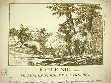 Fable XIII Le lion en furie et la chèvre the raging lion and the goat c 1800