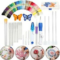 US DIY Embroidery Knitting Sewing Tool Magic Pen Kit Punch Needle w/ 50 Threads