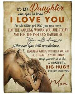 Personalized To Daughter From Mom Horse Fleece Woven Fleece Blanket Gift