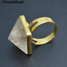 1pc Natural Crystal Quartz Pyramid Shape Stone Rings Fashion Party Jewelry