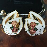 VINTAGE Jewellery 1980's unusual flower cloisonne enamel clip earrings