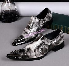 Mens Leather pointy Metal Toe Dress Oxfords Slip On Shoes Wedding Party Boots