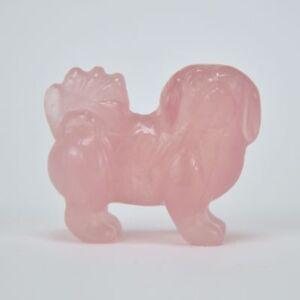 Miniature Statuette de Chien Pékinois Chinoise en pierre rose 3,5 cm