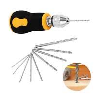 Micro Mini Portable Twist Hand Drill + 10pcs Drill Bits Set Tool Bit 0.5-3.2mm