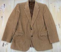 CIRCLE S - Vtg Khaki Tan Corduroy Elbow Patch Western Blazer Jacket, Mens 50L