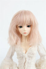 "BJD Doll Wig 8-9"" 1/3 SD DZ DOD LUTS Smoke Pink Mid-Long curly Hair"