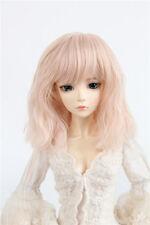 "6-7"" Smoke Pink Heat resisting Fiber Wig Mid-Long curly Hair for 1/6 BJD Doll"