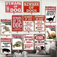 Beware of Dog Animals Tin Sign Metal Pattern Home Decor Wall Art