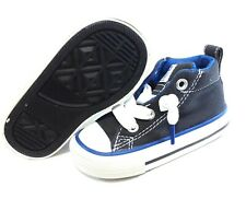 Infant Toddler Boy Converse 646177F Street Mid Grey Blue No Laces Sneakers Shoes