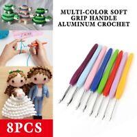 8pcs Multi-color Soft Grip Handle Aluminum Crochet Hook Knitting Needles Kit Set