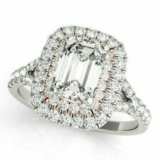 14k Solid White Gold Pave Halo Emerald Cut Engagement Ring