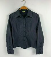 Cue Women's Button Up Top Size 12 Long Sleeve Black Pinstripe Business Casual