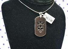 316L Stainless Steel SKULL Wearing CROWN Dog Tag Pendant Biker Fleur de Lis Head