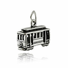 Cable Car Charm - 925 Sterling Silver 3D San Francisco Street Trolley Streetcar