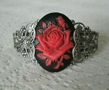 Red Rose Cuff Bracelet, victorian renaissance gothic rockabilly art nouveau goth