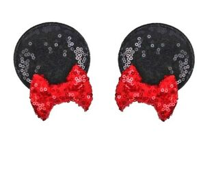 Minnie Ears Red Bow Clips  Set of 2