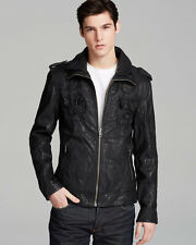 "Superdry Men's Black Ryan Leather Jacket Size: XL 42"" (107cm) RRP £372"