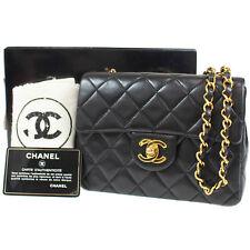 Chanel Imbottito Matelasse Borsa Piccola da Spalla Nero pelle Vintage Auth #P153