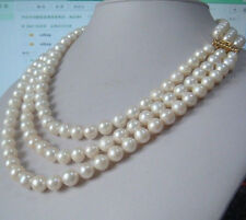 """Charming 3 row natural 9-10mm south sea white pearl necklace 18""""19""""20"""" 14K GP"""
