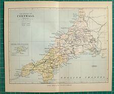 1882 SMALL ANTIQUE COUNTY MAP ~ CORNWALL FALMOUTH PENZANCE BODMIN TRURO