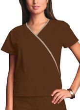 Nwt Xsmall Chocolate Cherokee Scrubs Workwear Mini Mock Wrap Top 4800 Chcw