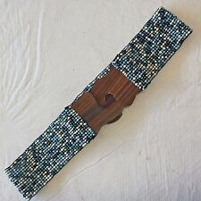 Boho Belt Stretchy Beaded Band Wooden Front Clasp 2 in W - Sz SM/Med