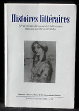 Revue Histoires littéraires n° 15  2003  Du Lérot NM