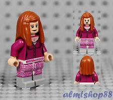 LEGO - Female Minifigure Girl w/ Pink Cardigan Sweater & Dark Orange Long Hair