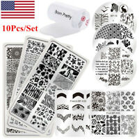 10Pcs BORN PRETTY Nail Stamping Plates French Flower Nail Art Templates Stamper