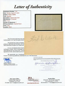 Fred Clarke Signed 1951 Index Card JSA LOA Auto Autographed COA Postcard Photo