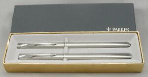 Parker Insignia Flighter Stainless Steel Ballpoint & Pencil Set - Mint, New 1995