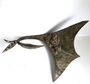 """Lily Manta Ray Vtg Mid Century Brutalist Welded Metal Abstract Sculpture 14"""""""