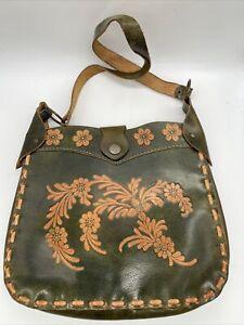 VTG RETRO HIPPIE leather handstitched purse green flowers (#339)