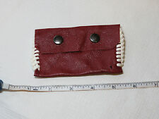 "Handmade leather coin / card holder dark red w/ stitching 4 1/4"" X 2 1/2"" no rng"