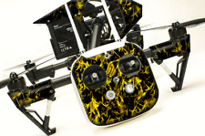 DJI Inspire 1 graphic skins w/6 Batteries Transmitter Decals | Flames Yellow