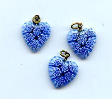 Three Light Blue Millefiori Hearts Pendants 18x20mm 6415B