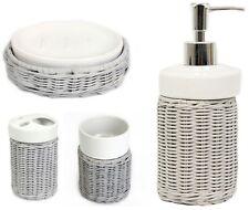 4 PCS French Grey Rattan Bathroom Soap Dish Tooth Brush Tumbler Soap Dispenser