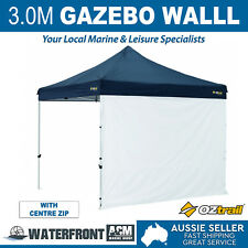 Oztrail 3.0m Gazebo Solid Wall White Marquee Side Walls Canopy w/ Centre Zip