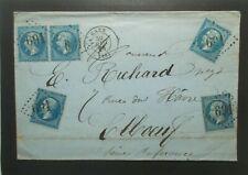 20c bleu Napoléon N° 22 obl  X5 , tarif 1f sur lettre