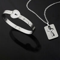 Titanium Steel Lock Bangle Bracelet & Key Pendant Necklace Couple Set Stylish