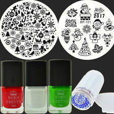 7Pcs Christmas XMAS Nail Art Stamp Plates Stamping Polish W/Jelly Stamper Kit