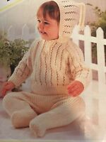 """Knitting Pattern 4 Ply Baby Set Hooded Jacket And Trousers 18-22"""" Chest Vintage"""
