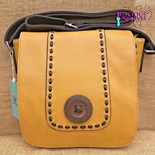 SENAPE Donna Cross Corpo in finta pelle Big Button Fashion Shoulder Bag Borsa