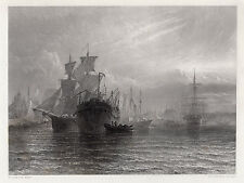 "Awesome 1800s HENRY DAWSON Engraving ""Woolwich Naval Dockyard"" Framed SIGNED COA"