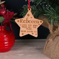 Personalised Love You More Wooden Christmas Tree Star Decoration Bauble Gift