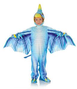 Dark Blue Pterodactyl Boys Printed Dinosaur Halloween Costume