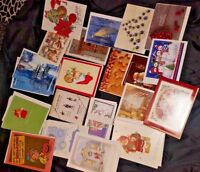 Lot of miscellaneous Christmas cards and notes, vintage,  many designs.
