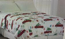 Christmas Comforter Red Truck Wagon Buffalo Plaid Down Alternative  King Size