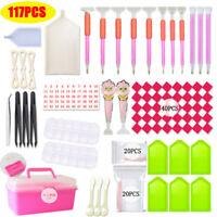 15-117Pcs/Set DIY Diamond Painting Tools Box Pen Accessories Set Kit Art Crafts